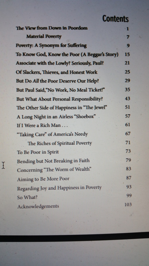 My wayward little book's Table of Contents. It was ready for print and then . . . lo God laughed at my plans.