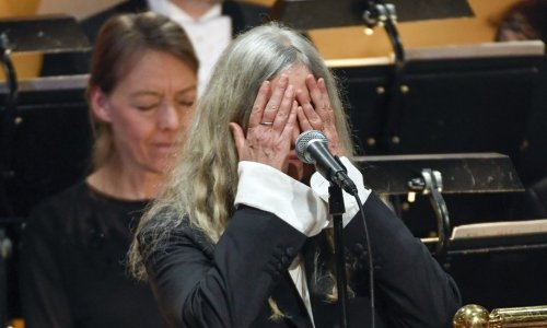 "A nervous Patti Smith got the yips, only to recover brilliantly with her performance of Dylan's ""Hard Rain"" at the Nobel Prize Ceremony."