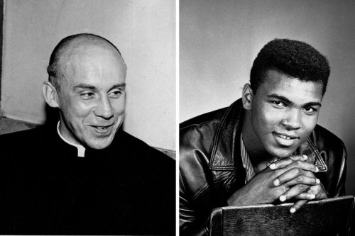 "In today's New York Times, Lonnie Ali, widow of Muhammed Ali, writes of her husband and Thomas Merton: ""Neither the monk nor the boxer relied on political leaders to set their course in matters of justice, equality and tolerance. Neither man was elected to high office, but their messages in print, in words and in deeds reverberated across the globe and in the highest chambers of power."" (Photo from today's New York Times.)"