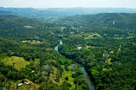 """Aerial view of the Macal River, which runs through the rustic twin cities of San Ignacio-Santa Elena, known as """"Cayo,"""" where I live."""