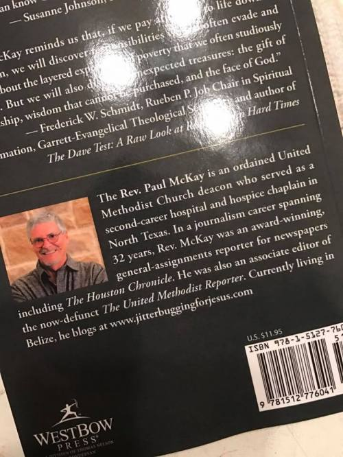Photo of the back cover by my daughter Amy who received the copy I pre-ordered for her. I should have my complimentary copies waiting for pickup at the post office when I get back to Old San Ignacio Town in a couple of days, Lord willing and the creeks don't rise. Look forward to seeing it myself.